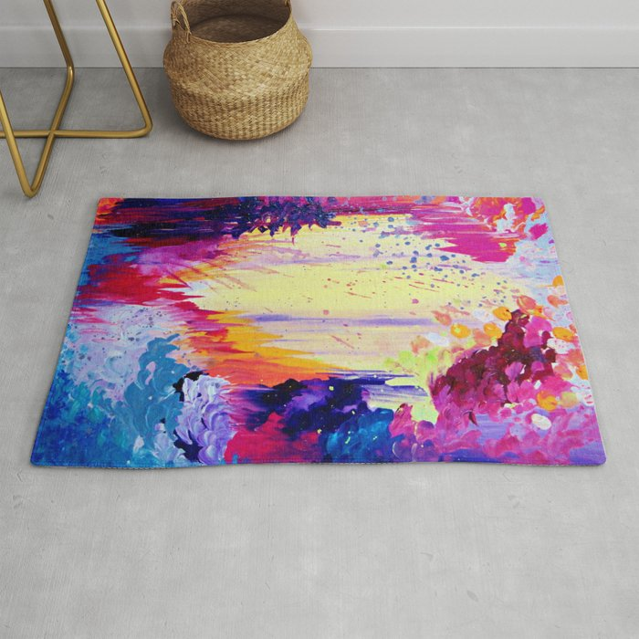 In Times Of Chaos Intense Nature Abstract Acrylic Painting Wild Rainbow Volcano Waves Fine Art Rug By Ebiemporium