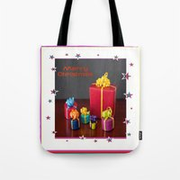 gift card Tote Bags featuring Merry Christmas Gift Boxes Holiday Card  by taiche