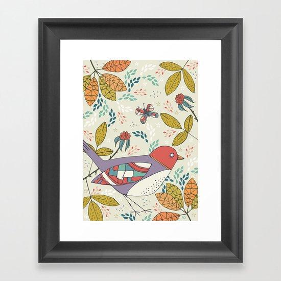 Bird and Butterfly  Framed Art Print