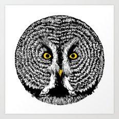 Round Owl Art Print