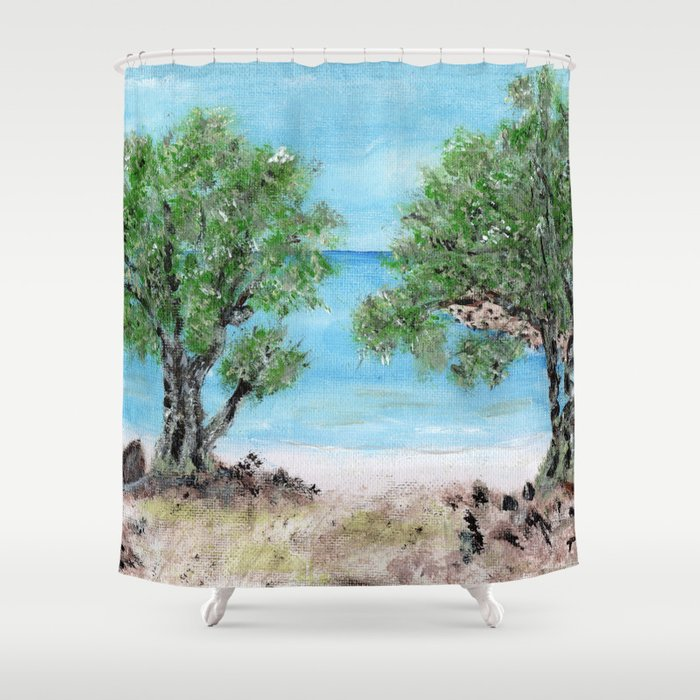 Kefalonia acrylic painting on canvas scanned at 600dpi Shower Curtain
