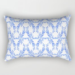 Blue and White Floral Watercolor Swags Rectangular Pillow