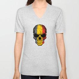 Dark Skull with Flag of Belgium Unisex V-Neck