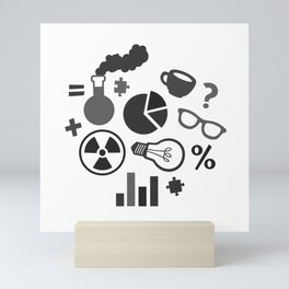 Grey and Black Science Pattern Mini Art Print