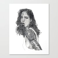 tattoos Canvas Prints featuring Lust & Tattoos by Art & Ink