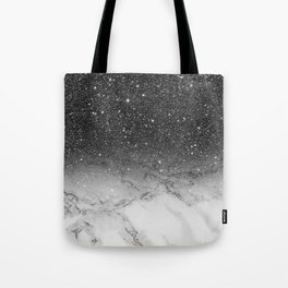 Stylish faux black glitter ombre white marble pattern Tote Bag