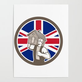 British House Removal Union Jack Flag Icon Poster