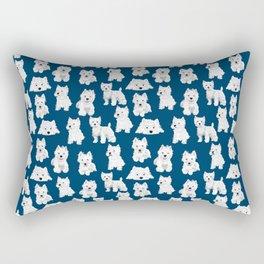 Westies on Blue Rectangular Pillow