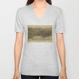 Vintage Pictorial Map of Chicago IL (1893) Unisex V-Neck