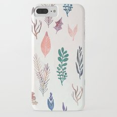 Mix of plants and watercolor leaves Slim Case iPhone 7 Plus