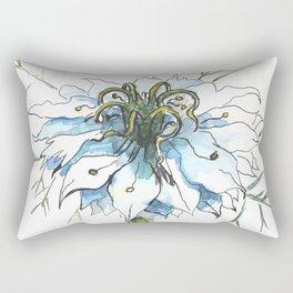 Nigella watercolor beautiful flower, nature Rectangular Pillow