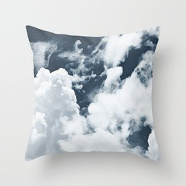 Abstract navy blue gray white watercolor hand painted clouds Throw Pillow