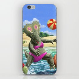 dinosaur fun playing Volleyball on a beach vacation iPhone Skin