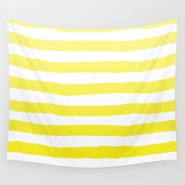 Sun Yellow Handdrawn horizontal Beach Stripes - Mix and Match with Simplicity of Life Wall Tapestry