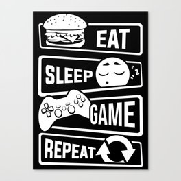 Eat Sleep Game Repeat | Video Game Console Gaming Canvas Print