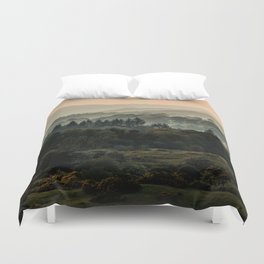 Foggy morning in Lake District Duvet Cover