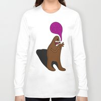 bigfoot Long Sleeve T-shirts featuring Sandy Bigfoot by Chelsea Herrick