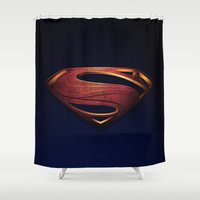 man of steel Shower Curtains featuring Man of Steel by Fortale