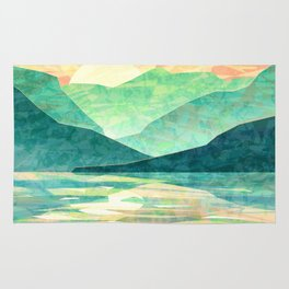 Spring Sunset over Emerald Mountain Landscape Painting Rug