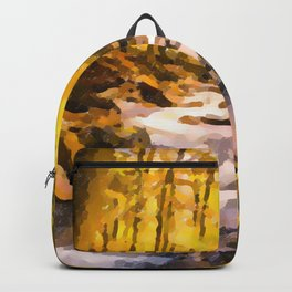 Wild waterfalls flowing through a forest Backpack
