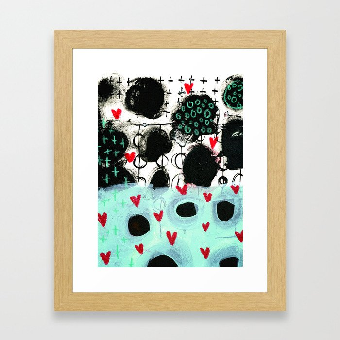 Falling Hearts Framed Art Print