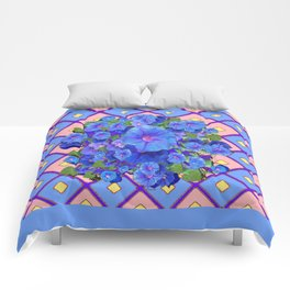 Blue Diamond Patterns Morning Glories Art Comforters