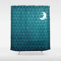 night sky Shower Curtains featuring Night Sky by littleclyde