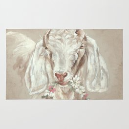 Goat with Floral Wreath by Debi Coules Rug