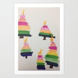 Rainbow Christmas Tree Art Print