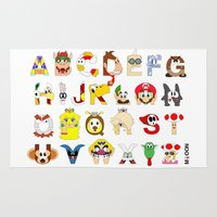 super mario Area & Throw Rugs featuring Super Mario Alphabet by Mike Boon