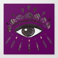 kenzo Canvas Prints featuring Kenzo eye in purple by cvrcak