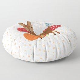 Brown Deer and Blue Butterfly Autumn Design Floor Pillow