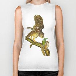 Barred Owl John James Audubon Scientific Vintage Illustrations Of American Birds Biker Tank