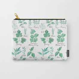green herbs family watercolor Carry-All Pouch