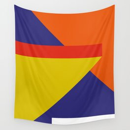 Random colored parallelepipeds flying in a cool blue space Wall Tapestry