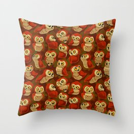 Northern Saw-whet owls pattern. Throw Pillow