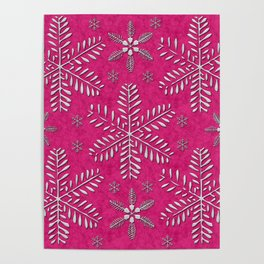 DP044-7 Silver snowflakes on pink Poster