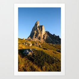 La Gusella mountain peak at sunrise. Art Print