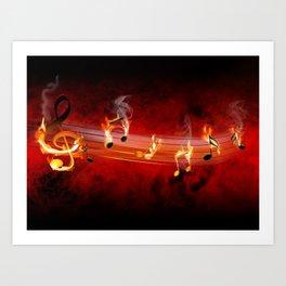Hot Music Notes Art Print
