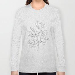 Minimal Line Art Magnolia Flowers Long Sleeve T-shirt