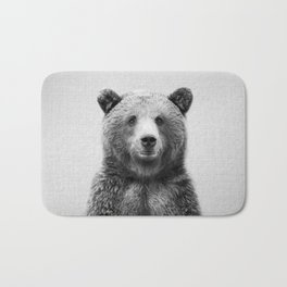 Grizzly Bear - Black & White Bath Mat