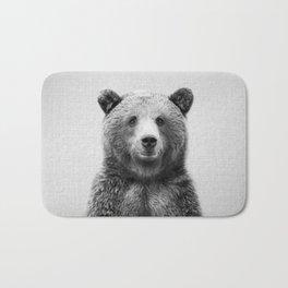 Grizzly Bear - Black & White Bath Mat