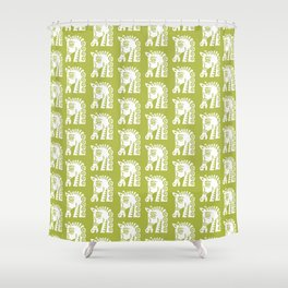Mid Century Horse Pattern Chartreuse Shower Curtain