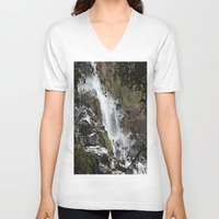 waterfall V-neck T-shirts featuring Waterfall by Four Hands Art