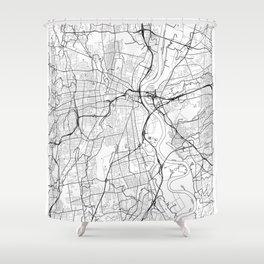 Hartford Map White Shower Curtain