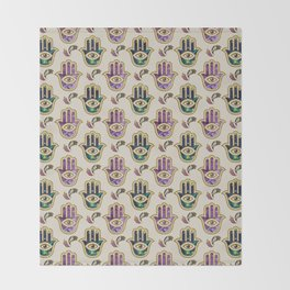 Hamsa Hand pattern - marble, amethyst and gold Throw Blanket