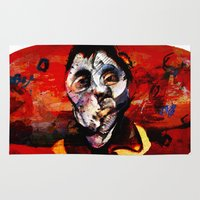 boxing Area & Throw Rugs featuring Boxing Bacon by Genco Demirer