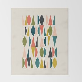 Mid Century Modern Abstract Colorful Shapes Funky Cool Minimalist Pattern Throw Blanket
