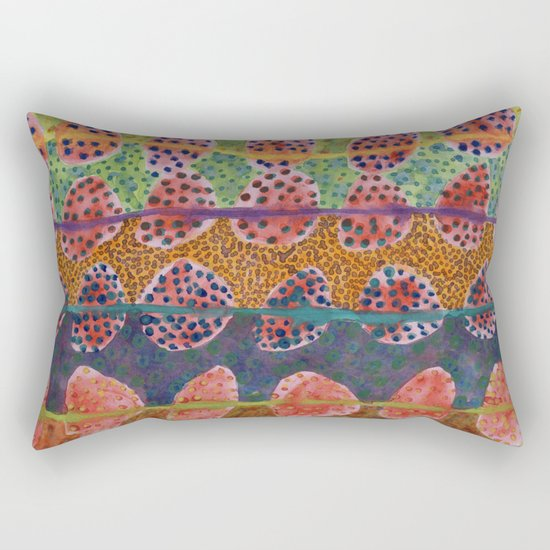 Red Round And Dotted Forms  Rectangular Pillow