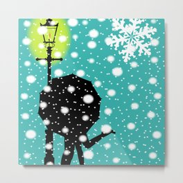 Lamp Post In the Snow Metal Print